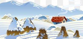 Hand-drawn Illustration Snow - Snow Cottage Illustration PNG