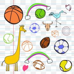 Giraffe Rugby Ball On This Job - Ball Game Cartoon Sport Illustration PNG