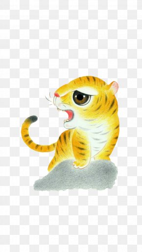 Crayon Painted Tiger - Chinese Zodiac Month Tiger U660eu697c U853au6668 PNG