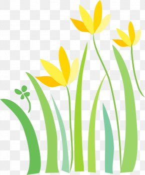 Painted Green Flowers - Yellow Green Floral Design PNG