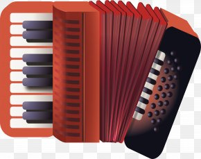 Red Accordion - Diatonic Button Accordion Musical Instrument PNG