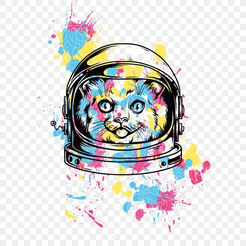 Printed T-shirt Hoodie Cat, PNG, 1181x1181px, T Shirt, Art, Astronaut, Cat, Clip Art Download Free