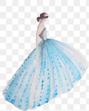 Beautiful Blue Dress - Gown Dress Drawing Sketch PNG