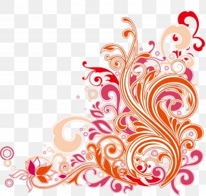 Swirl Floral Design Vector Art - Floral Design Art Nouveau Clip Art PNG