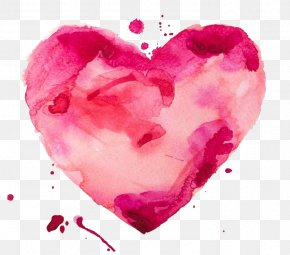 FIG Watercolor Painted Heart-shaped Material - Watercolor Painting Heart Stock Illustration PNG