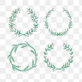 Vector Green Garland - Santa Claus Wreath Christmas Euclidean Vector Crown PNG