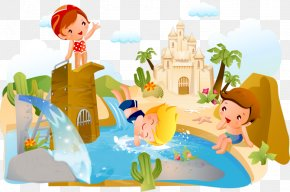 Castle Swimming Pool - Childrens Day Greeting Card Erziehung PNG