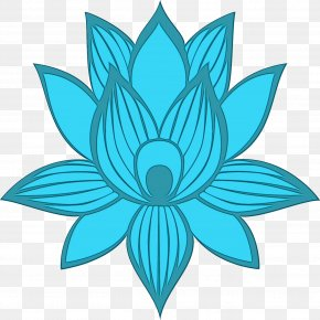 Lotus Family Plant - Blue Aqua Teal Turquoise Symmetry PNG