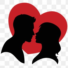 Couple Silhouette And Hearts Vector - Love Heart Clip Art PNG
