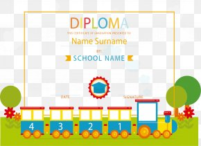 Cute Little Train Diploma - Diploma Academic Certificate Train School PNG