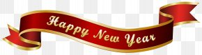 Happy New Year Red Banner Transparent PNG Clip Art Image - New Year's Day Banner Party New Year's Eve PNG
