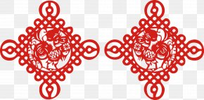Chinese Knot New Year Year Of The Rooster Chinese New Year Paper-cut Window Grilles - Chinese New Year Papercutting Chinese Paper Cutting Chinese Zodiac New Years Day PNG