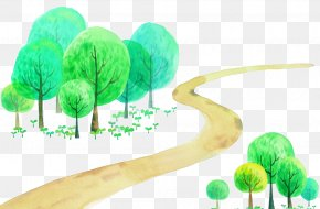 Tree-lined Trail Vector - Cartoon Watercolor Painting Illustration PNG