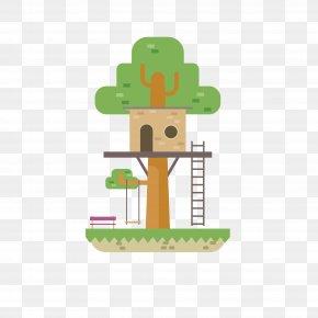 Cartoon Tree House - Euclidean Vector Tree Flat Design PNG
