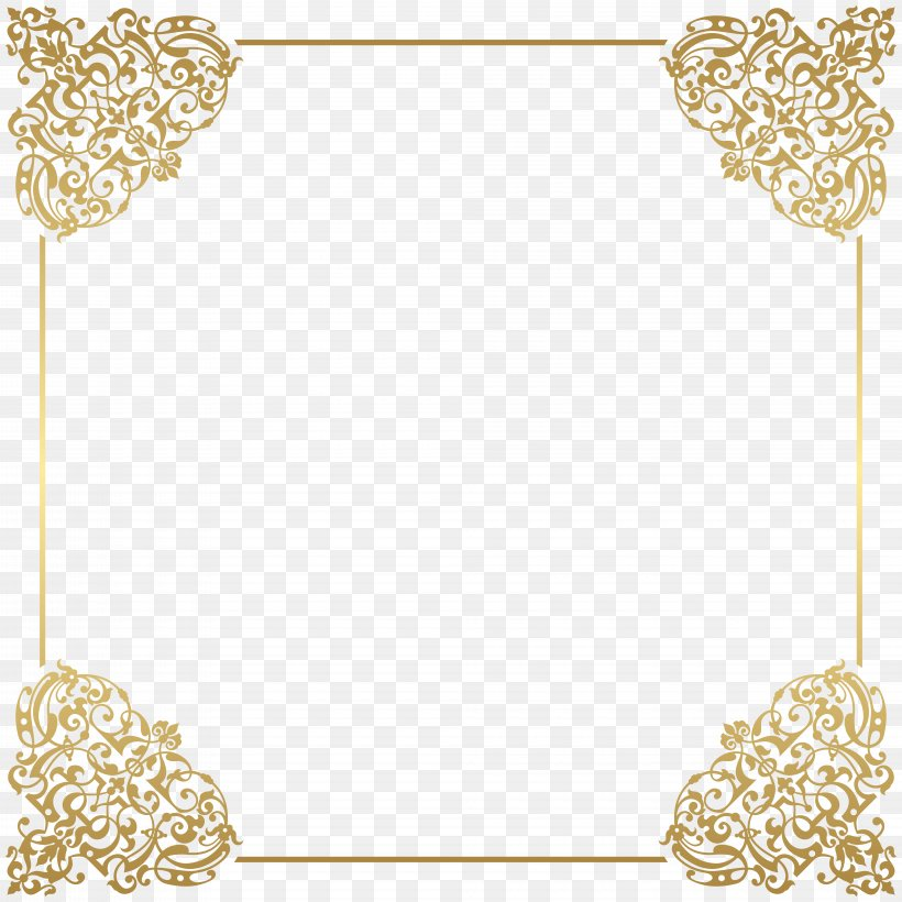 Gold Frame Picture Frame Clip Art, PNG, 8000x8000px, Borders And Frames, Area, Clipboard, Computer Graphics, Film Frame Download Free