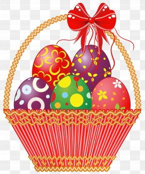 Easter Red Basket With Eggs Clipart Picture - Easter Bunny Clip Art PNG