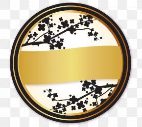 Japanese Black And Gold Label Up And Down Round Pomo - Gold Euclidean Vector Label Tag PNG