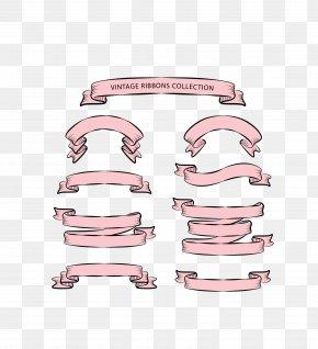 Vector Pink Ribbon Promotional Ribbon Decoration - Ribbon Adobe Illustrator PNG