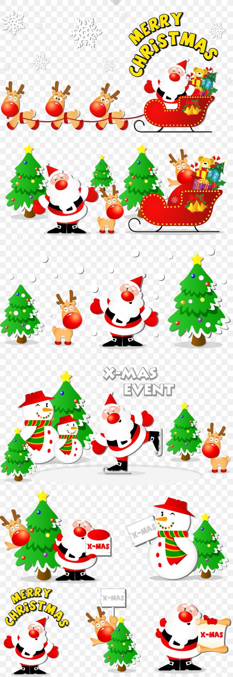 Santa Claus Snegurochka Reindeer Christmas Tree, PNG, 1061x3074px, Ded Moroz, Area, Art, Artwork, Border Download Free