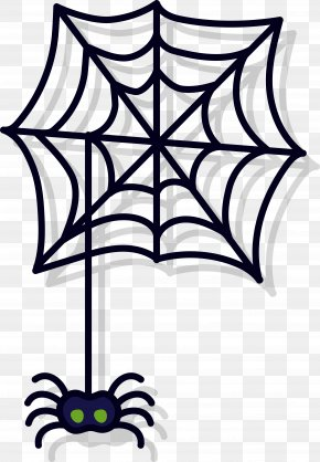 Simple Dark Spider Web - Spider Web Coloring Book Drawing Clip Art PNG