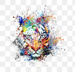 Creative Color Ink Splash Tiger Avatar - Abstract Art Painting Drawing PNG