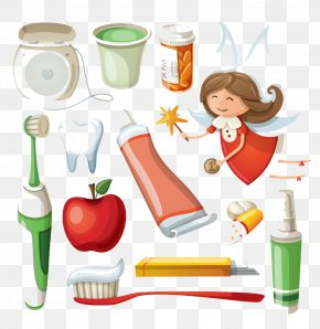 Toothbrush And Apple - Electric Toothbrush Toothpaste Cartoon PNG