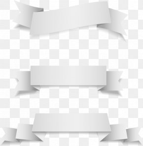 Vector Folding White Ribbon - White Ribbon PNG