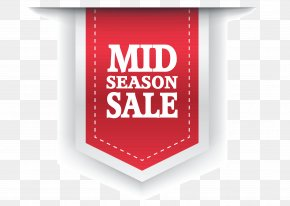 Red Mid Season Sale Label Clipart Picture - Sales Label Sticker Clip Art PNG
