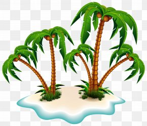 Palm Trees And Island Clipart Picture - Arecaceae Tree Clip Art PNG