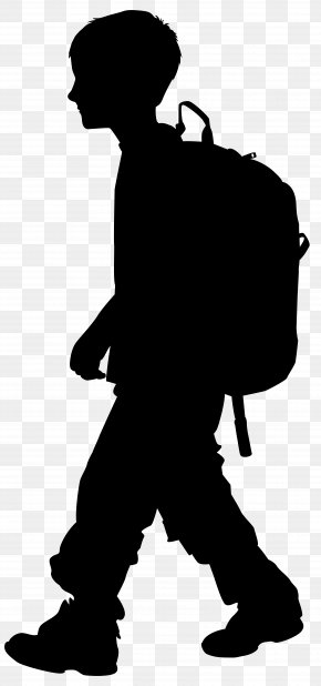 Boy With Backpack Silhouette Clip Art Image - Silhouette Clip Art PNG