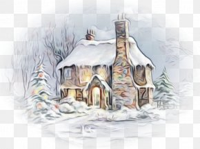 Watercolor Paint Home - Hut House Winter Sketch Cottage PNG