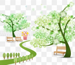 Cartoon Green Trees Small Fresh Park - Park Cartoon Illustration PNG