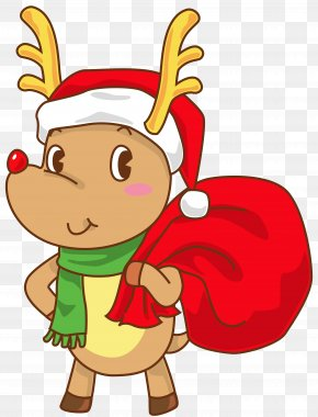 Christmas Rudolph With Santa Hat Transparent Clip Art Image - Rudolph Santa Claus Hat Christmas SantaCon PNG