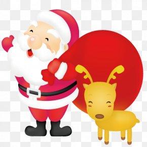 Christmas Santa Claus Elk - Rudolph Santa Claus Reindeer Christmas PNG
