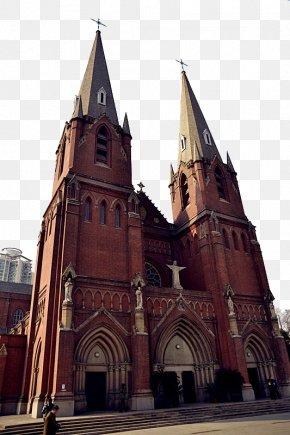 Shanghai Vintage Church - Saint Ignatius Cathedral, Shanghai Church Architecture Building PNG
