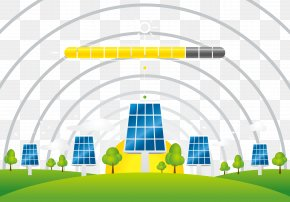 Blue Solar Energy Panels And Yellow Sun - United Arab Emirates Solar Energy Solar Panel Renewable Energy PNG
