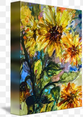 Painting - Floral Design Acrylic Paint Common Sunflower Watercolor Painting PNG
