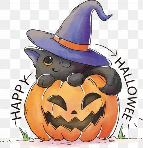 Lovely Hand-painted Pumpkin - Black Cat Kitten T-shirt Halloween PNG
