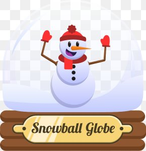 Happy Snowman Crystal Ball - Snowman Christmas Dress Up Crystal Ball Clip Art PNG