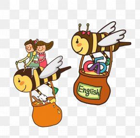 Bee Honey Pot - Honey Bee Clip Art PNG