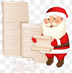 Santa Claus With Letters Clipart Image - Santa Claus Gift Reading Illustration PNG
