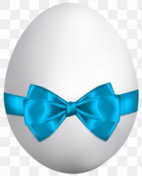 White Easter Egg With Blue Bow Clip Art Image - Easter Bunny Easter Egg Clip Art PNG