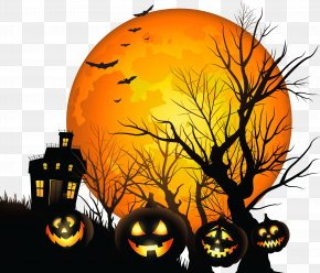 Large Haunted House And Moon Clipart - Halloween Clip Art PNG