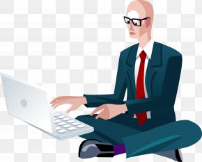 A Business Man Sitting On The Internet - Internet Cloud Computing Download PNG