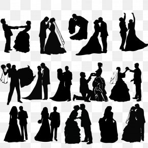 Silhouette Of Bride And Groom - Wedding Invitation Silhouette Clip Art PNG