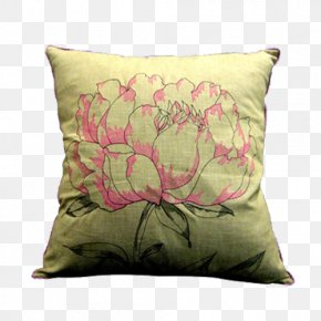 Yellow Background Peony Pillow - Yellow Red PNG
