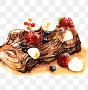 Creative Cakes Watercolor - Yule Log Cake Dessert Cream PNG