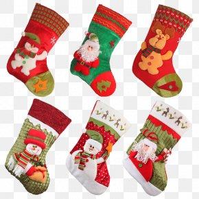 Santa Claus Socks Candy Bags - Santa Claus Christmas Stocking Christmas Eve PNG