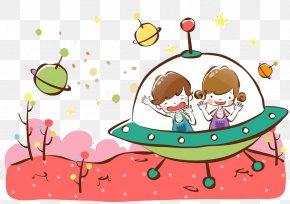 Cartoon Background UFO - Spacecraft Cartoon Illustration PNG