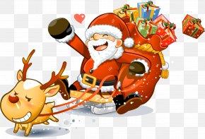 Santa Claus - Santa Claus Reindeer Christmas Clip Art PNG